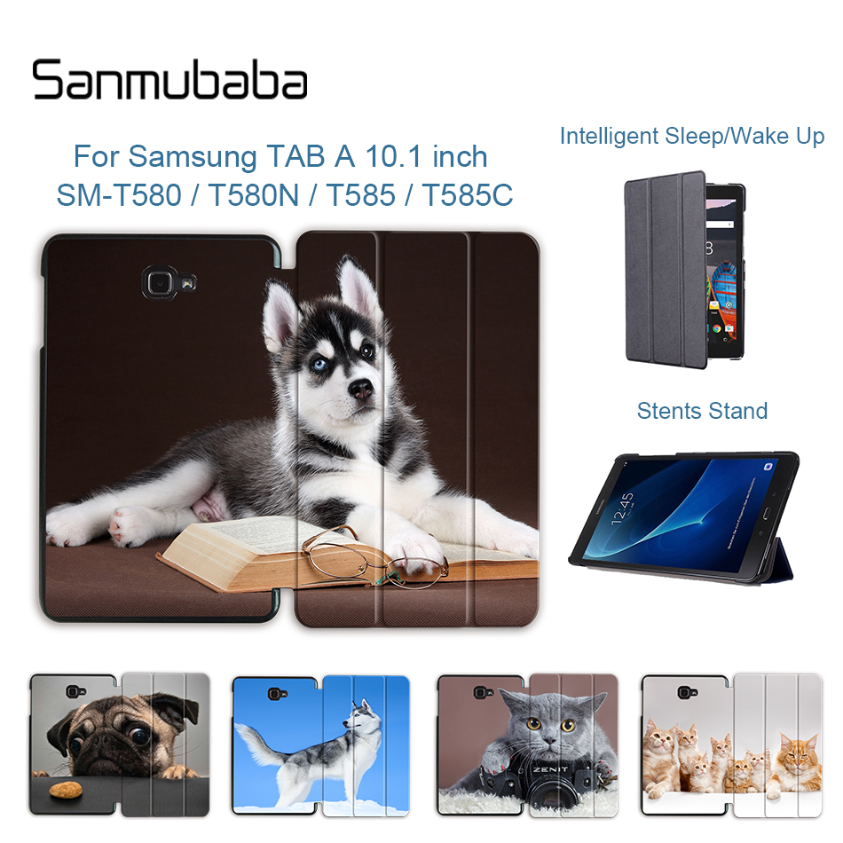 Sanmubaba <font><b>Tablet</b></font> Case for <font><b>Samsung</b></font> <font><b>Galaxy</b></font> <font><b>Tab</b></font> <font><b>A</b></font> A6 <font><b>10.1</b></font> 2016 SM-<font><b>T580</b></font> T585 Slim PU Leather Magnetic Folding Smart Cover <font><b>Funda</b></font> <font><b>T580</b></font> image