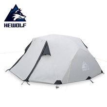 Hewolf Outdoor Camping Apparatuur Vier Seizoenen Regendicht Tent Dubbele Dubbele Aluminium Staaf Multi-persoon Outdoor Winter Camping Tent(China)