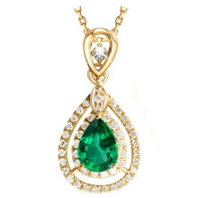 Emerald green gemstone pendant necklace for women full CZ diamonds 14k gold crystal stone statement wedding luxury fine jewelry(China)