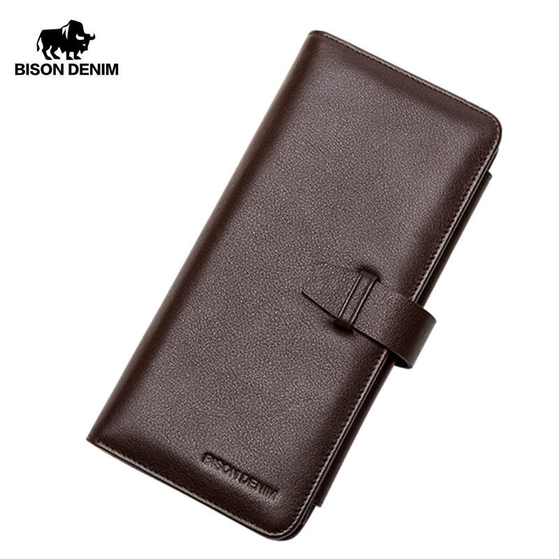 BISON DENIM NEW Men's Wallet Genuine Leather Long Wallet with Coin Purse Large Capacity Card Holder Luxury Phone Wallet N8221