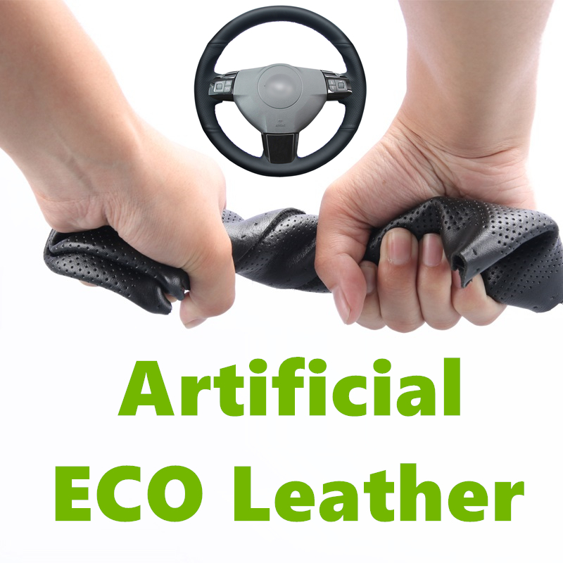Black Artificial Leather Hand stitched Brown Car Steering Wheel Cover For Opel Astra H 2004 2009 Zaflra B Signum 2005 Vectra C|Steering Covers| |  - title=