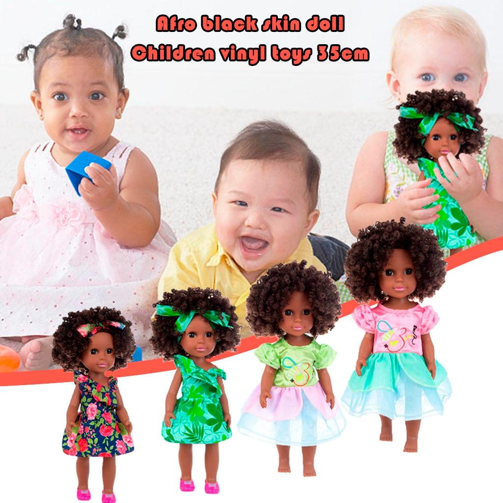Vinil realista bebê menina boneca-renascer africano reborn boneca preto africano preto bebê bonito encaracolado preto 35cm vinil brinquedo do bebê presente