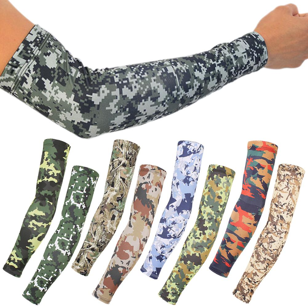 1 Pair Camo Arm Sleeves Cycling Camouflage Anti-UV Protective Lycra Elastic Arm Warmers Outdoor Riding Fishing Guard Sleeves