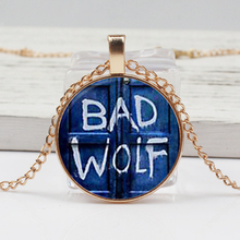 Retro Glass Dome Pendant Doctor Who Inspired By Bad Wolf Tardis Necklace Handmade Cabochon Long Chain Woman Gift