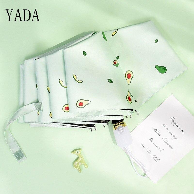 YADA Luxury Cartoon Fruit Avocado Umbrella Clear Folding Automatic Umbrellas For Children Women UV Lovely Rain Umbrella YD200037