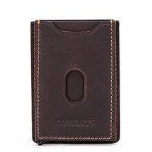 BISI GORO Vintage Genuine Leather Card Wallet RFID Blocking Auto Pop-up Aluminum Case Men and Women Credit Holder
