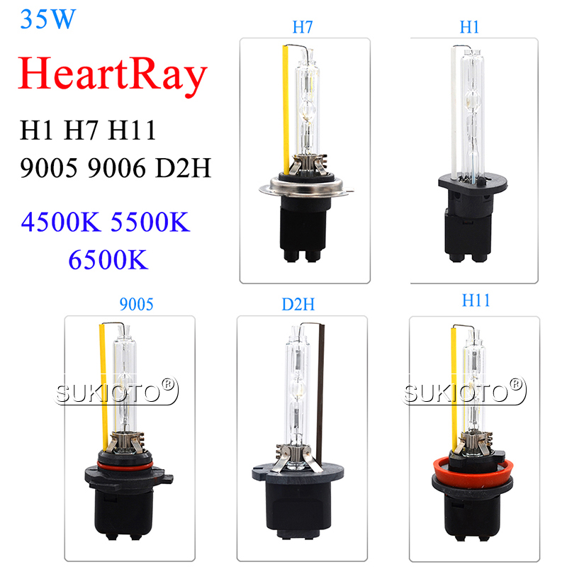 SUKIOTO HeartRay HID Xenon Bulb AC 35W H1 H7 H11 9005 HB3 9006 HB4 D2H Auto Car Headlight Replacement Bulbs 4500K 5500K 6500K (7)