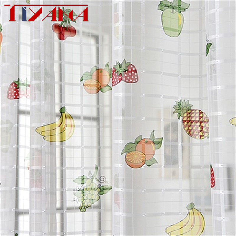 Finished Fruit Printing Curtain Tulle For Living Room Bedroom  Children's Room Window Screening  Kitchen Sheer Curtain T171#4