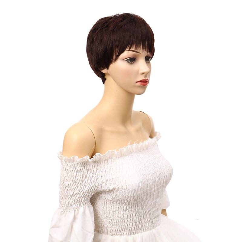 Dianqi peruca curta com franja, cabelo sintético cinza, para as mulheres diárias usam peruca resistente ao calor natural