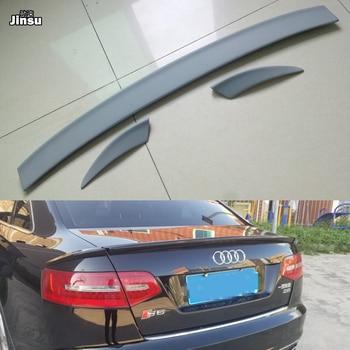 ABT style 3pcs/set PU plastic rear trunk spoiler lip For Audi A6 c6 sedan 2005 - 2012 car styling gray primer spoiler wing