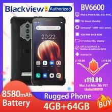 Blackview bv6600 ip68 impermeável áspero smartphone 5.7 screen screen tela android 10 octa núcleo 4gb ram 64gb rom móvel nfc 8580mah