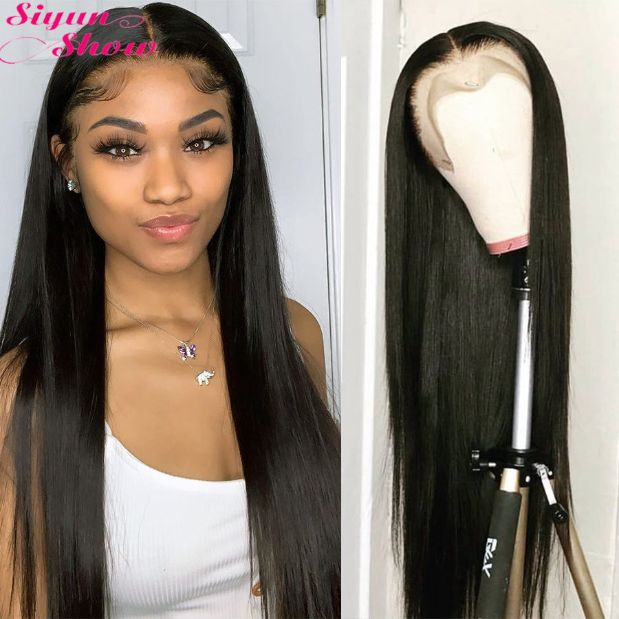 Siyun Show Brazilian Straight Lace Front Wig 30 Inch 360 Lace Frontal Wig Pre Plucked 13x6 Lace Front Human Hair Wigs For Women
