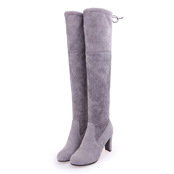 цена на Winter Overknee Boots Women Thick Large Size Fashion Lace Up High Heel Shoes Autumn Woman Gray Over The Knee Long Boots