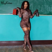 Hugcitar 2019 leopard print sexy mini dress with gloves socks autumn winter women streetwear club party Chirstmas outfits