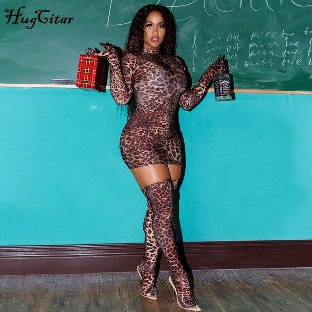 Hugcitar 2019 הדפס מנומר סקסי מיני שמלה עם כפפות גרבי סתיו חורף נשים streetwear מועדון מסיבת Chirstmas תלבושות