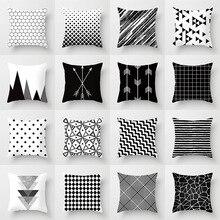 Geometric Cushion Cover Black and White Polyester Throw Pillow Case Home Sofa Cushion Cover Case Household Decorative Pillowcase off grid pure sine wave solar inverter 24v 220v 2500w car power inverter 12v dc to 100v 120v 240v ac converter power supply