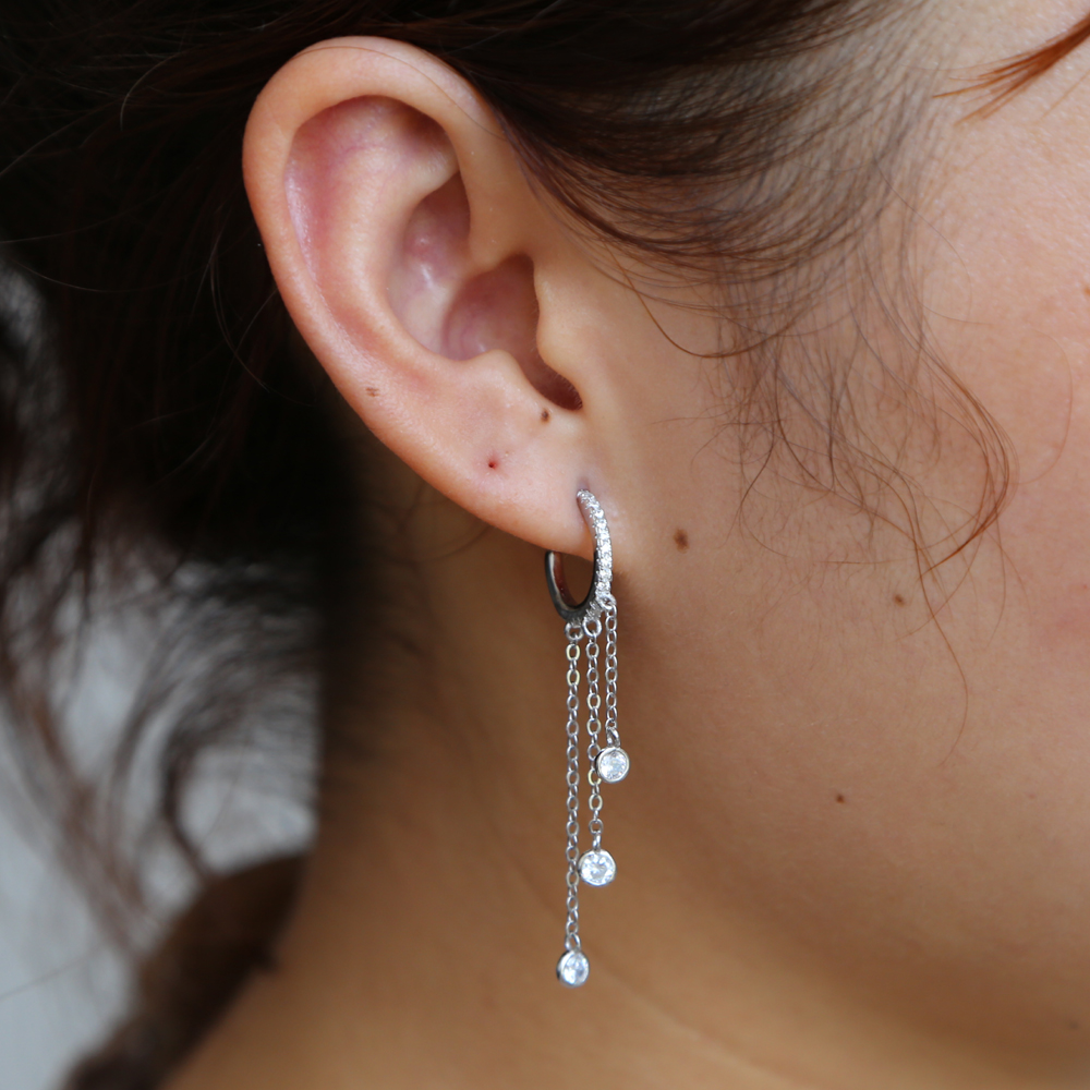 Gorgeous Women Tassel Cz Hoop Earring 925 Sterling Silver Anit Allergy Fashion Female Jewelry 925 Long Chain Elelgance Ear Wire