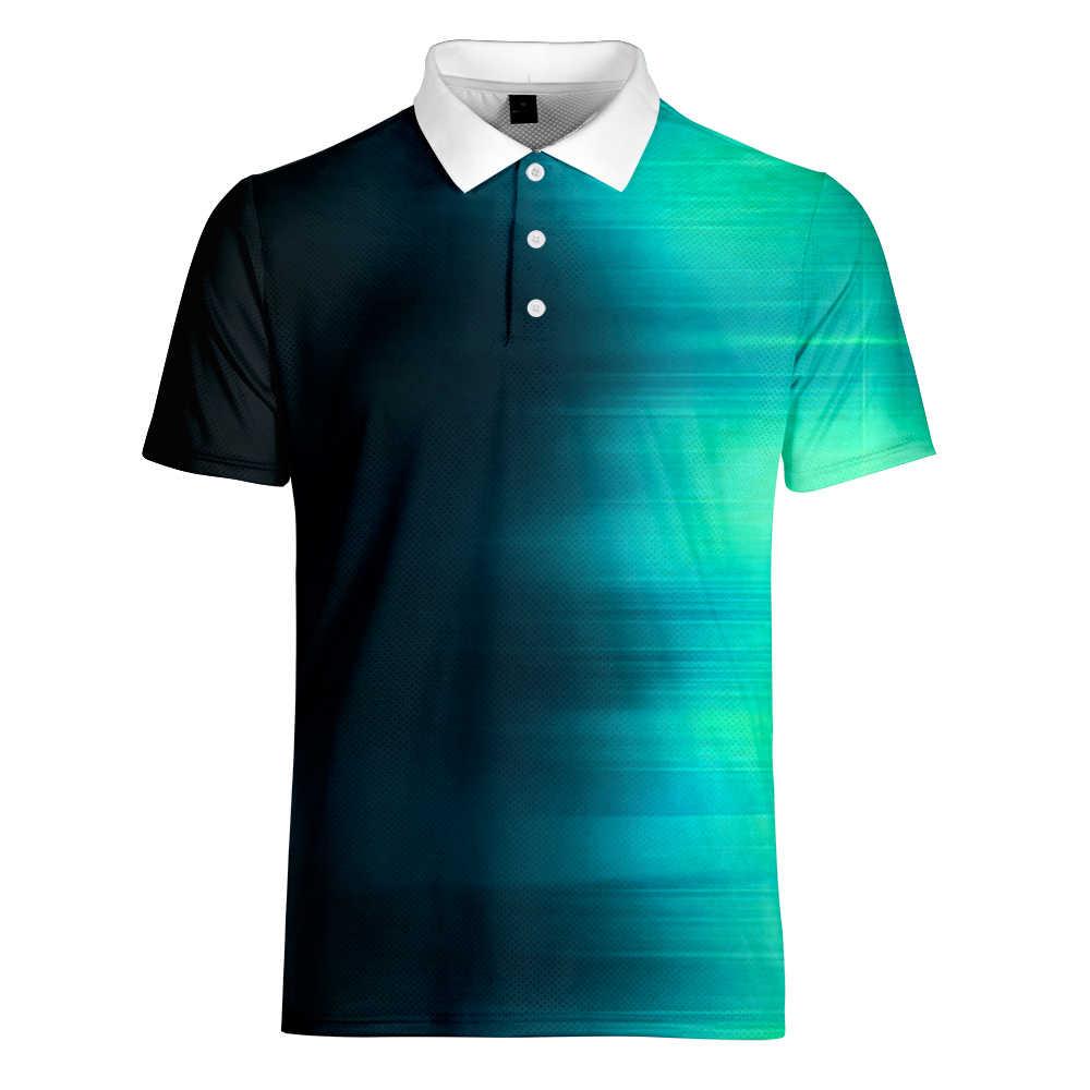 Wamni Merek Fashion Pria Gradien Polo Shirt Olahraga Sederhana 3D Pria Patchwork Lengan Pendek Kerah POLO -Kemeja