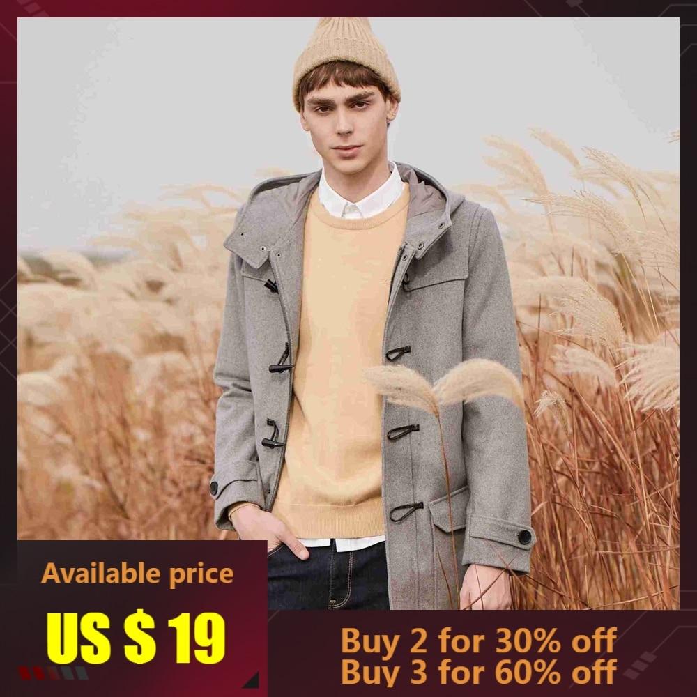 METERSBONWE Hoodeies New Winter Men Wool Coat Medium-Long Overcoat Classical Horn Buckle Coat Youth