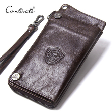 "CONTACTS Mens Wallet Genuine Leather Clutch Man Walet Brand Luxury Male Purse Long Wallets Zip Coin Purse  6.5"" Phone Pocket"