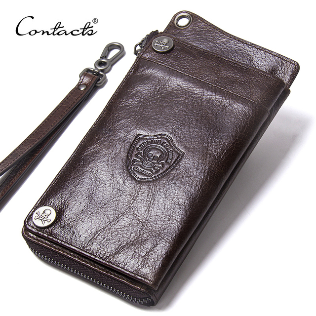 """CONTACTS Mens Wallet Genuine Leather Clutch Man Walet Brand Luxury Male Purse Long Wallets Zip Coin Purse  6.5"""" Phone Pocket"""