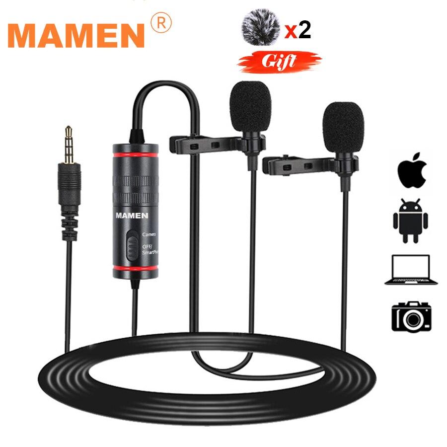 Конденсаторный петличный микрофон MAMEN с двумя головками, 4,2 м, с зажимом, Vlog, микрофон для видеозаписи Mikrofo/Microfon для смартфона, DSLR