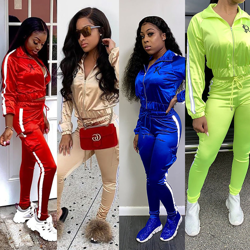 Two Piece Set Tracksuit Women Clothes Conjuntos De Mujer Reflective Strip Patchwork Jacket Pants Jogger 2 Pieces Matching Sets