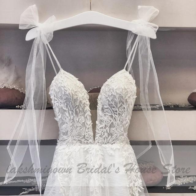 Deep V-neck Sexy Bridal Wedding Dress 2021 Robe Boheme Glitter Tulle New Mariage Wedding Gowns Vestidos Boho Wedding Dresses 2