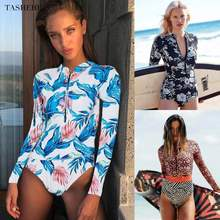 2020 Print Floral One Piece Swimsuit Long Sleeve Swimwear Women Bathing Suit Retro Swimsuit Vintage One-piece Surfing Swim Suits(China)