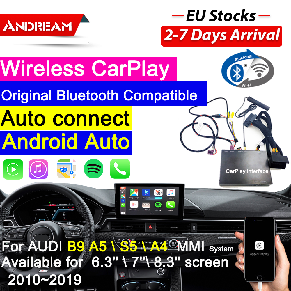 Wireless CarPlay AirPlay Interface Box For <font><b>AUDI</b></font> B9 A5/S5/<font><b>A4</b></font> OEM <font><b>Screen</b></font> Upgrade <font><b>MMI</b></font> System Reversing Camera Siri Voice Control image