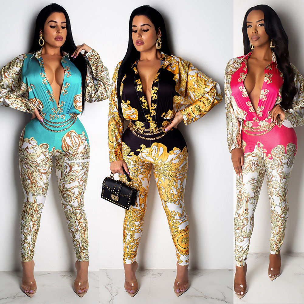Sexy V-collar Printed Long-sleeved Pants Style Women's Luxury Tights Glittering Trousers Elegant Nightclubs One-piece Clothes