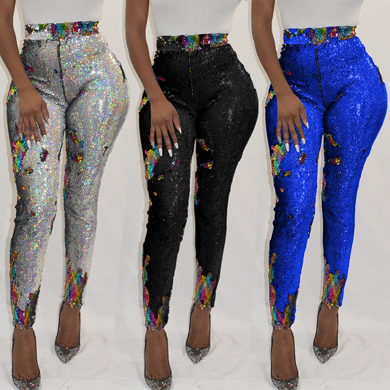 Women's Pants Nightclub Sexy Color Sequined Pants Beaded Leggings Elegant Party Tights