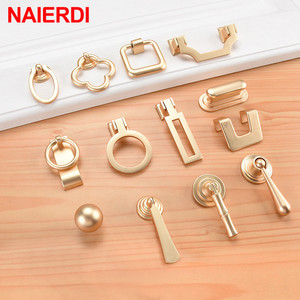 NAIERDI Vintage Gold Cabinet Pulls Zinc Alloy European Furniture Handle Kitchen Cupboard Handle Drawer Knobs Hardware