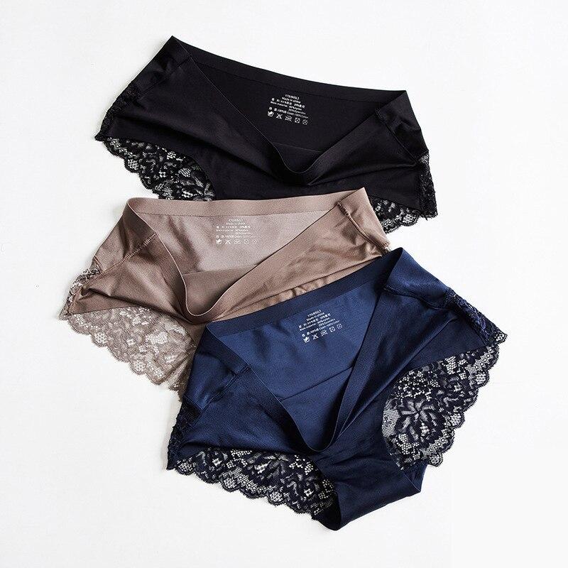 Women Sexy Lace Panties Seamless Underwear Briefs Nylon Silk Girls Ladies Bikini Cotton Crotch Transparent Lingerie Underpants