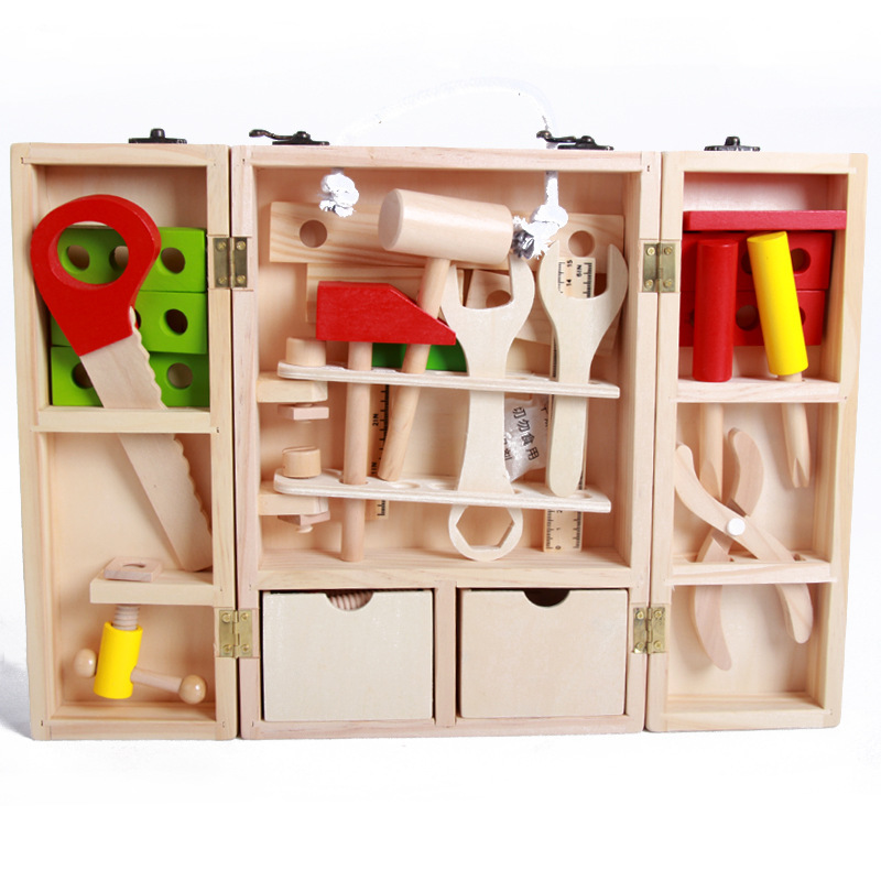 Enfants en bois bricolage Portable Puzzle Simulation boîte à outils enfants à l'intérieur de jeu jouet ensemble boisé garçon réparation outil d'apprentissage jouet cadeau