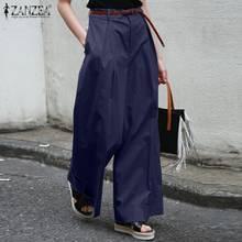 ZANZEA 2021 Elegant Women's Solid Trousers Pleated Pants Casual Front Zip Long Pantalon Female Autumn Overalls Plus Size Turnp