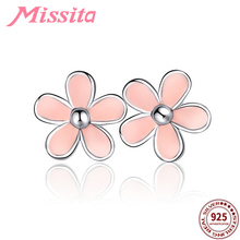 купить MISSITA 925 Sterling Silver Romantic Daisy Earrings For Women Silver Jewelry Brand Wedding Stud Earrings HOT Sale дешево