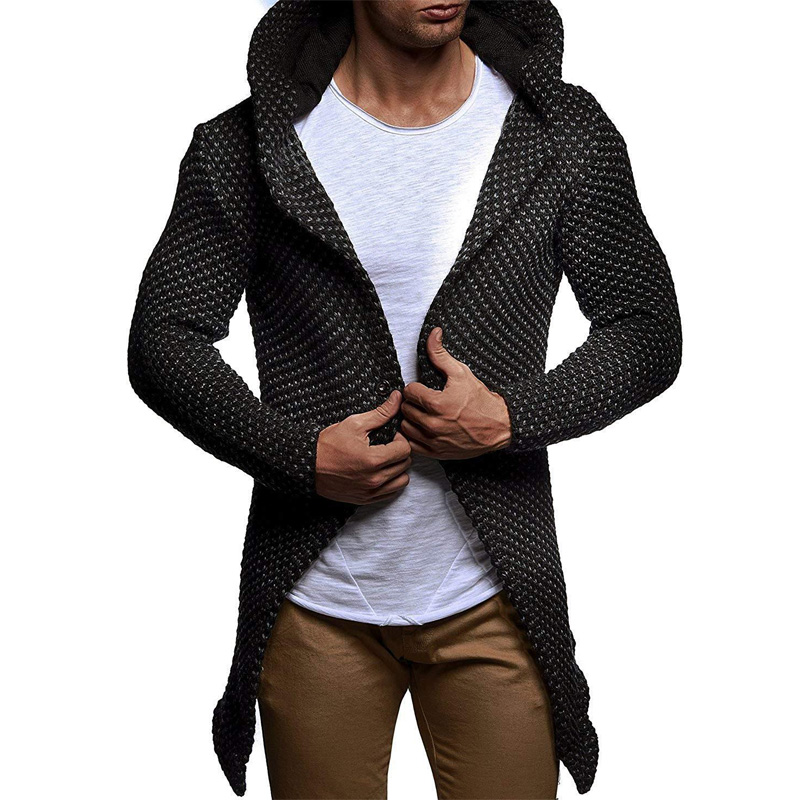 Spring new sweater men's fashion solid color Slim casual hooded wool coat autumn Long cardigan sweater Men's clothing