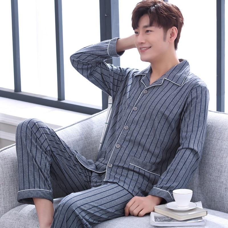 Plus Size 100% Cotton Pajamas For Men Pijamas Hombre Long Sleeve Casual Night Suit Men Sleepwear Homewear Pyjama Set For Male
