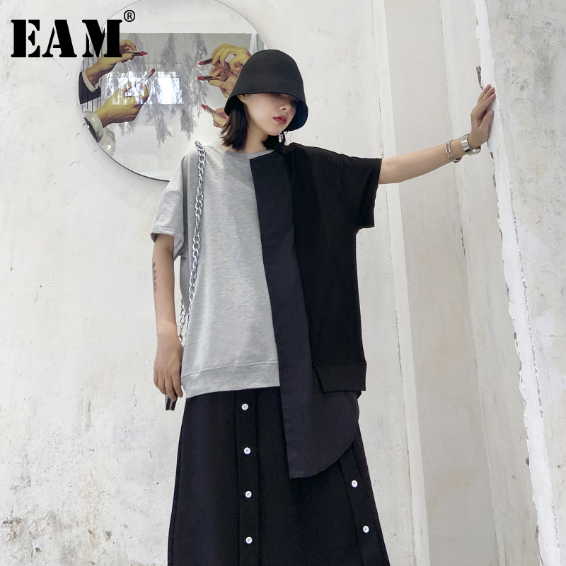 [EAM] Women Gray Contrast Color Asymmetrical Big Size T-shirt New Round Neck Short Sleeve Fashion Tide  Spring Summer 2020 1T770