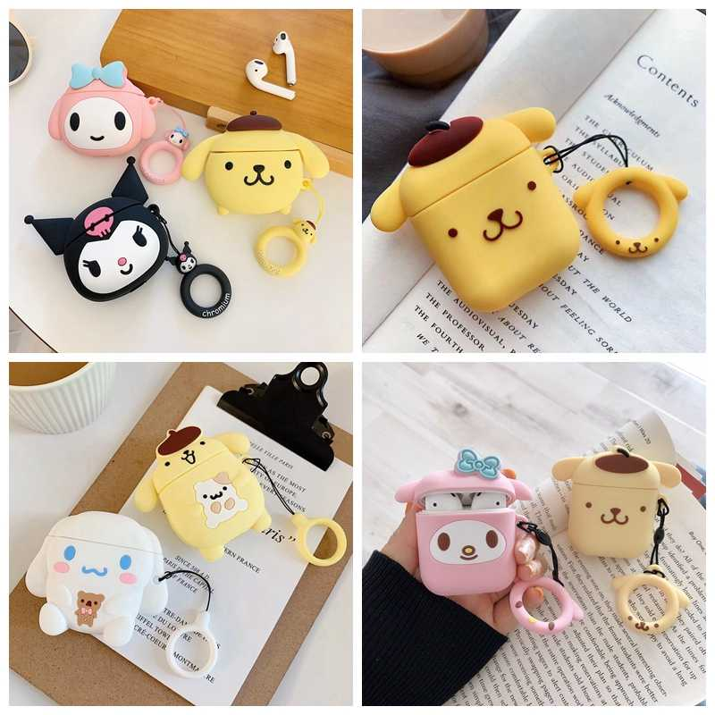 Do etui Airpods Cute Cartoon Pudding Dog słuchawki do Airpods 2 urocza osłona Puppy Puppy z paskiem na palec