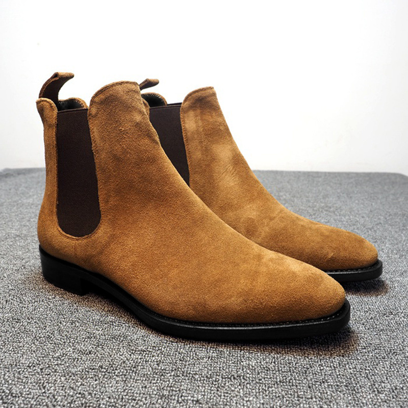 MRCAVE 2020 Fashion Winter Men Chelsea Boots Brown Slip On Nubuck Trending Man Leisure Boots Black Luxury High Top Casual