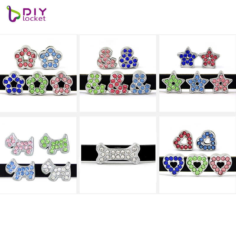 10 Stks/partij Strass Slide Charms Fit 8Mm Lederarmband Armband LSSC13-174