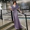 Elegant Evening Dress Purple Mermaid Long Women Party Dresses O-Neck Half Sleeve Formal Gowns Shawl Shining Robe De Soiree K199 1