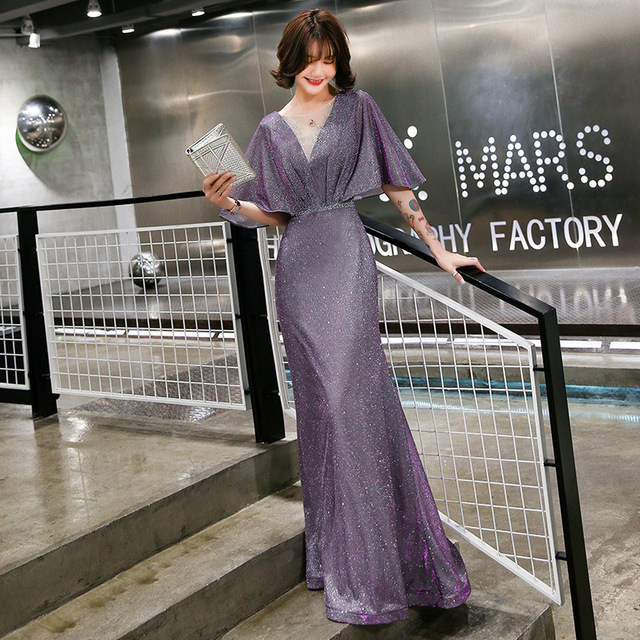 Elegant Evening Dress Purple Mermaid Long Women Party Dresses O-Neck Half Sleeve Formal Gowns Shawl Shining Robe De Soiree K199 1