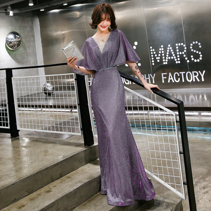 Elegant Evening Dress Purple Mermaid Long Women Party Dresses O-Neck Half Sleeve Formal Gowns Shawl Shining Robe De Soiree K199
