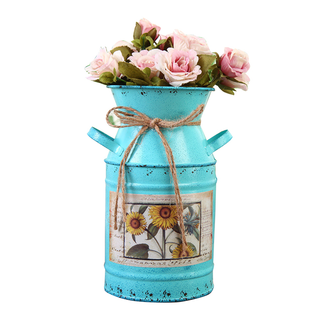 Garden Plants Flower Vase Iron Bucket Home Decoration Pots Arrangement Craft Rural Style Shabby Gift Wedding Vintage Table 3