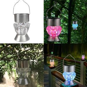 Image 3 - Solar Garden Lights, 1 Pcs Solar Lanterns Lights Rotatable Outdoor Garden Camping Hanging Light LED Diamond Lamp 7 colors Light
