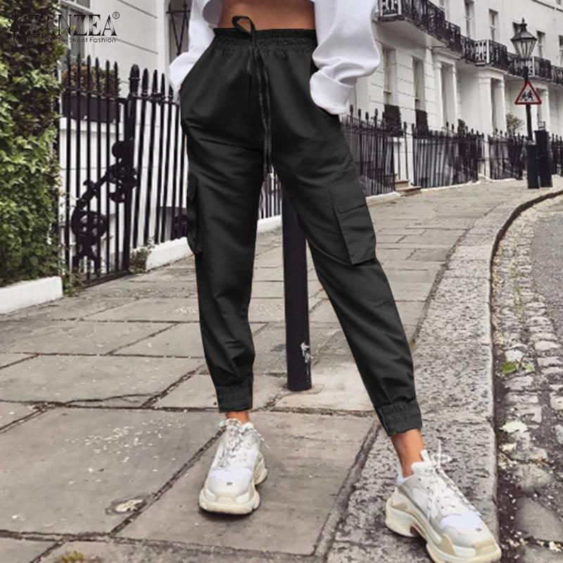 2020 Fashion ZANZEA Women's Pants Lady Solid High Wiast Trousers Casual Pockets Cargo Pants Female Long Pantalones Streetwear