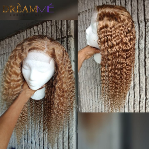 Image 4 - Медовый блонд, короткий Завитый парик из натуральных волос 13X6, глубокая часть, фронтальный парик с прядями волос для детей, цветные волосы Remy, 150% плотности